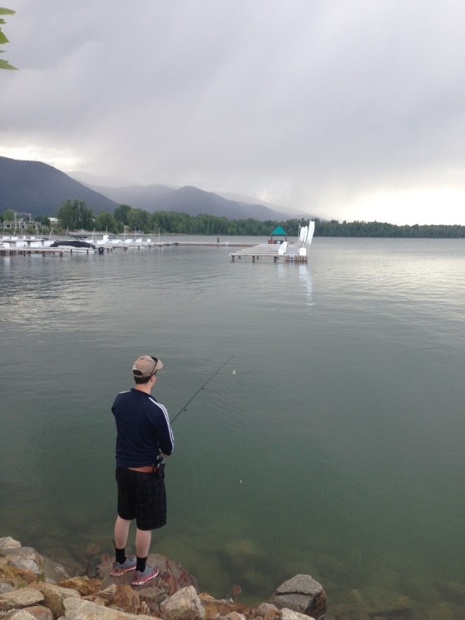 Danny fishing mountains rain